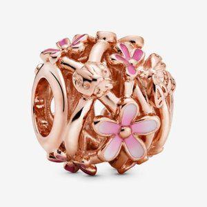 ♉Pandora  Openwork Pink Daisy Flower Charm